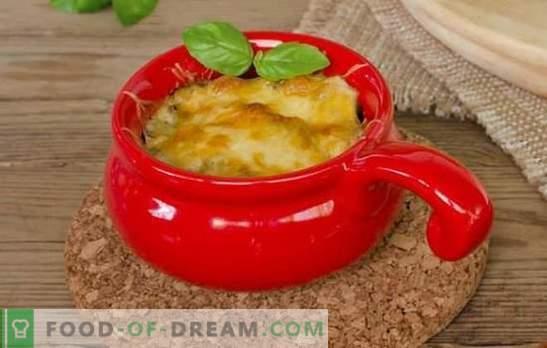 Juliana suave en ollas con queso, de champiñones frescos. Comida sencilla y deliciosa - Juliana en una olla