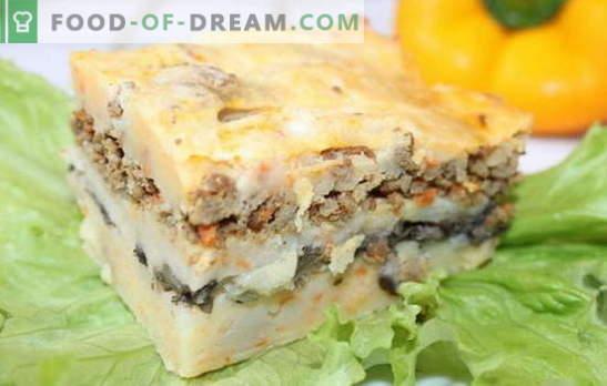 Cazuela con carne picada y papas - ¡ahorra tiempo! Recetas de guisos con carne picada y papas, así como champiñones, queso, verduras