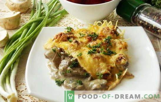 Una variedad de recetas para hígado de pollo con champiñones. Lo que se puede agregar a los platos de hígado de pollo con champiñones: verduras, crema agria, crema