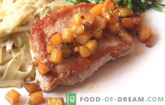 Cerdo con piñas en el horno: exótico, que se ha convertido en un clásico. Las mejores recetas de autor de carne de cerdo, al horno con piñas en el horno