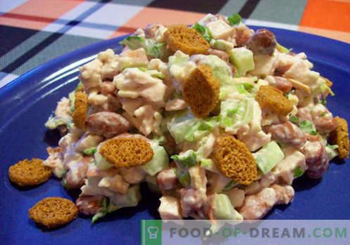 Ensalada con frijoles y galletas - recetas probadas. Cómo preparar adecuadamente y sabrosa ensalada cocida con frijoles y galletas.