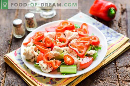 Ensalada dietética con pechuga de pollo sin mayonesa