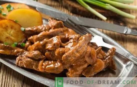 Stroganoff de ternera: una receta de carne clásica. Los secretos del stroganoff de carne de vacuno: opciones clásicas y diferentes