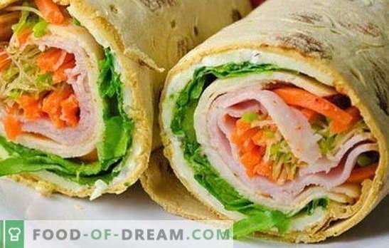 Erinevad täidised pita leiva rullile: teravad ja õrnad. Valik võimalusi pita leivakorvide täitmiseks kõigil juhtudel