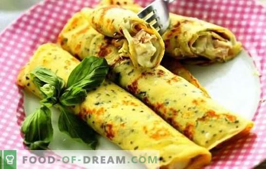 Panqueques con queso, verduras, jamón, pollo con leche y kéfir. Recetas populares para cocinar tortitas con queso