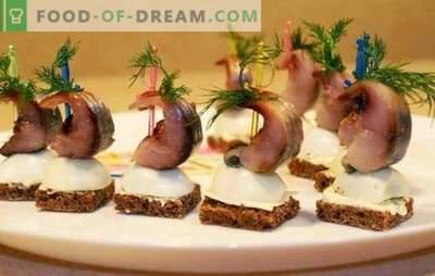 Herring snack - menú para la mesa navideña. Formas de diseñar platos de aperitivos de arenque común