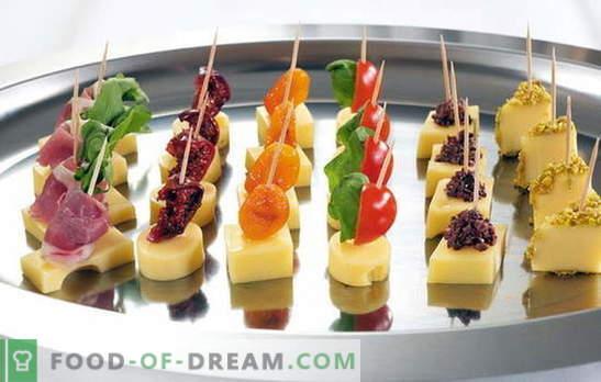 Decoraciones deliciosas y elegantes - canapés simples en pinchos. En la mesa de vacaciones: canapés simples en pinchos: formas de servir