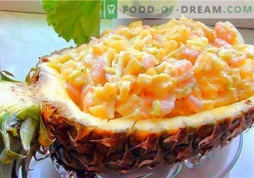 Ensalada de cangrejo con piña - las mejores recetas. Cómo cocinar adecuadamente y sabrosa ensalada de cangrejo con piña.