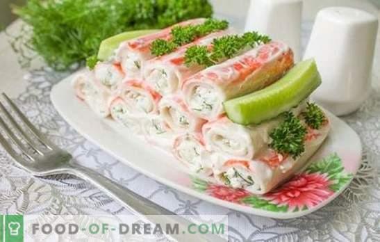 El aperitivo de palitos de cangrejo es un sabroso plato hecho con un producto dietético. Las mejores recetas para bocadillos fríos y calientes de palitos de cangrejo