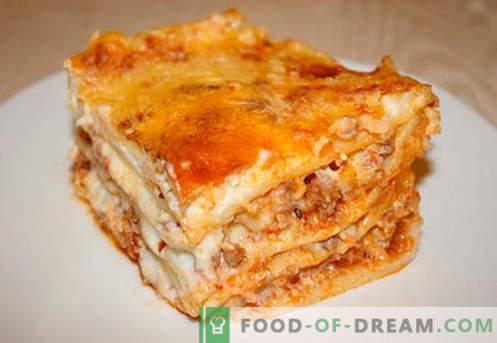 Lasaña con carne picada - las recetas correctas. Cómo cocinar de forma rápida y sabrosa la lasaña con carne picada.