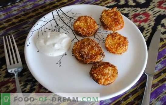 Los tomates verdes fritos son un refrigerio inusual hecho de productos simples. Recetas para Tomates Gourmet Fritos Verdes