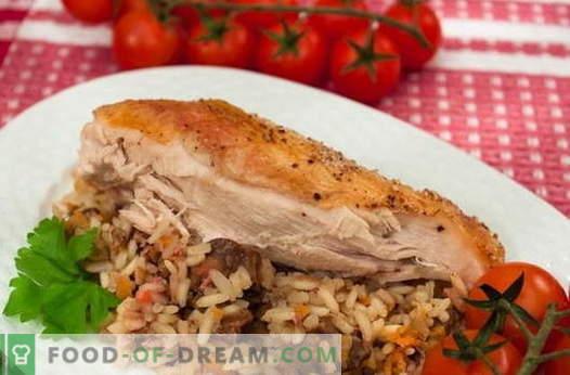 Pollo relleno de arroz - las mejores recetas. Cómo cocinar correctamente y sabroso pollo relleno de arroz.