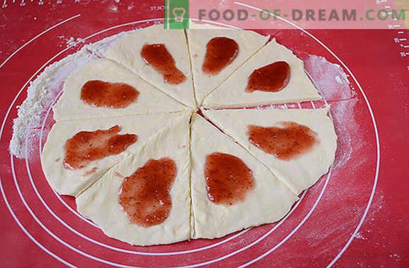 Panecillos de queso cottage con mermelada: ¡los pasteles caseros siempre son felices! Receta fotográfica paso a paso del autor de rollos de masa de requesón con mermelada espesa