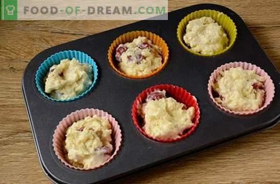 Magdalenas de queso cottage con cerezas: un pequeño postre para una gran fiesta de té. Paso a paso para cocinar muffins de cereza con cerezas (foto-receta)