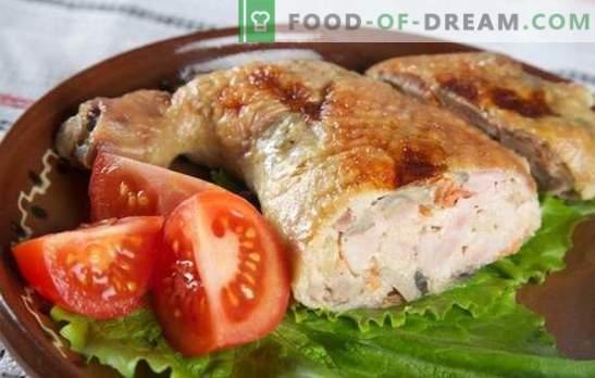 Jamón con champiñones es una excelente opción para una mesa festiva y no solo. Recetas interesantes para cocinar muslos de pollo con champiñones