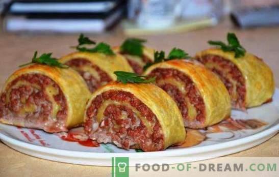 Rollitos de masa con carne picada - ¡original y satisfactorio! Cocinar jugosos y sabrosos rollos de masa con carne picada en la estufa y en el horno