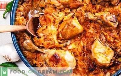 Estofado jugoso y solyanka liviano de col guisada con pollo en una olla de cocción lenta. Pollo con repollo en una olla de cocción lenta - fácil y satisfactorio