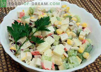 Ensalada con palitos de aguacate y cangrejo - las mejores recetas. Cómo preparar correctamente y sabroso una ensalada de palta y palitos de cangrejo.