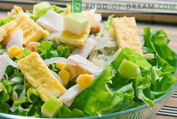 Recetas para ensaladas. Ensalada Mimosa, César, Griego, Pollo, Cangrejo ...