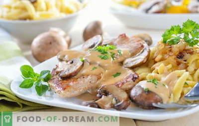 Carne en crema agria - una variedad de platos sabrosos y recetas. Recetas de carne en salsa de crema agria: rellenas, filetes, gulash