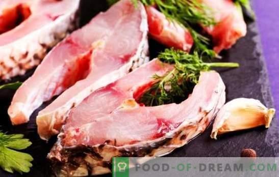 Filete de pescado en una sartén, en una parrilla, microondas y horno. Filetes de pescado sazonados con salsa de soja, verduras y jugo de limón
