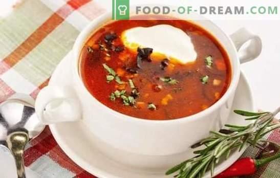 Solyanka clásico es un plato de restaurante en el menú de la casa. Cocinando pescado y carnes hodgepodge clásico