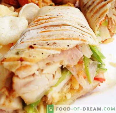 Shawarma con pollo - las mejores recetas. Cómo cocinar correctamente y sabroso el shawarma con pollo.