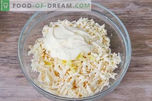 ¡Bocadillo de ajo de queso procesado - brillante, jugoso y barato!