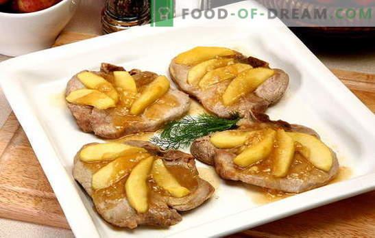 Месото со јаболка е одличен ансамбл! Рецепти неверојатно месо со јаболка во рерна, во саксии, во тавата