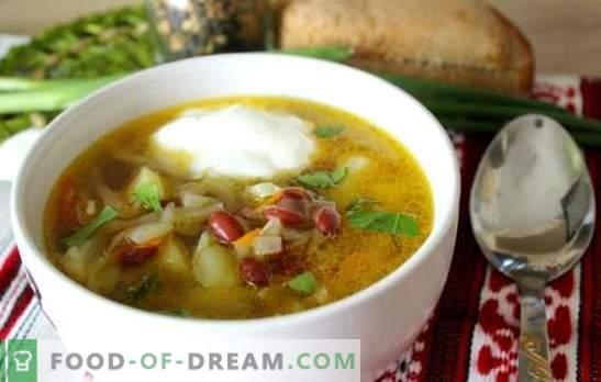 Sopa con frijoles - un plato caliente tradicional en una nueva variación. Las mejores recetas de sopa de repollo con frijoles, repollo, berenjenas, champiñones