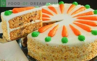 Pastel de zanahoria clásico - jugoso postre de otoño. Tarta clásica de zanahoria con especias, queso crema, nueces, chocolate