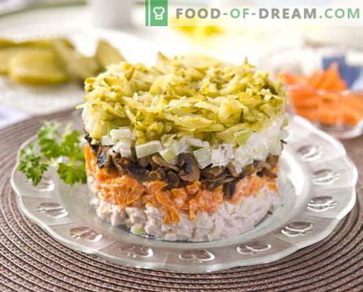Ensalada de pollo en capas con las mejores recetas. Cómo cocinar adecuadamente y sabrosa la ensalada de hojaldre con pollo.