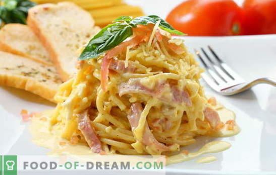 Carbonara de espagueti: ¡huelen a Italia! Spaghetti carbonara recetas con tocino, champiñones, jamón, pollo, camarones