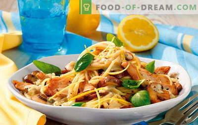 Pasta con filete de pollo - ¡completa armonía! Recetas de platos de pasta con pollo y verduras, champiñones, tocino, salsas