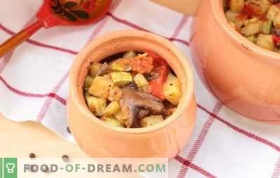 Guisos en la olla en el horno: recetas y secretos. Cómo cocinar verduras, carne, guiso de champiñones en ollas en el horno