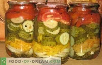 La ensalada de pepino y tomate para el invierno es un complejo vitamínico útil. Recetas clásicas y originales de ensalada de pepino y tomate para el invierno