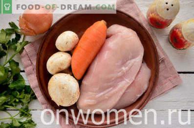 Pollo guisado con champiñones