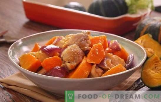 Pollo con una calabaza en el horno - platos de pollo sin problemas innecesarios. Hornee el pollo entero o en rodajas con la calabaza en el horno