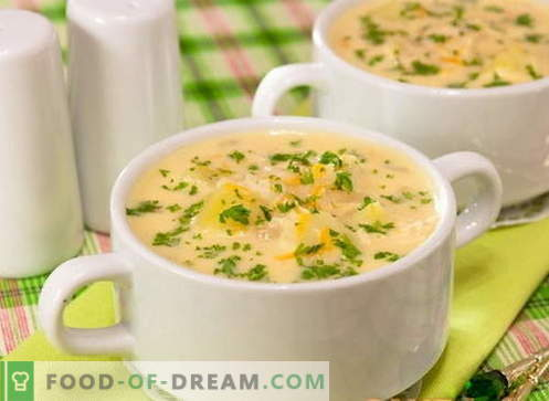 Sopa de queso - las mejores recetas. Cómo cocinar adecuadamente y cocinar la sopa de queso.